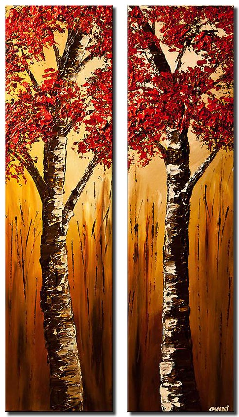 canvas print of diptych red birch trees