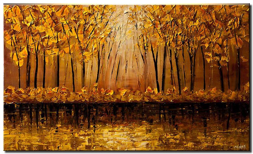 canvas print of golden forest over river bank