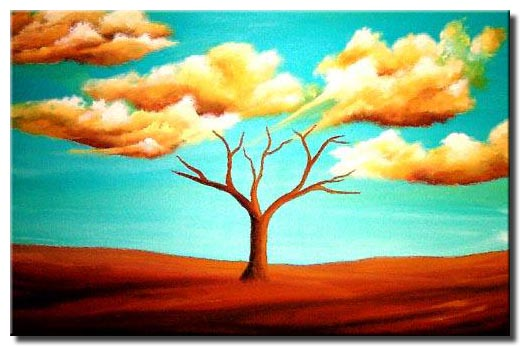 naked tree and clouds painting