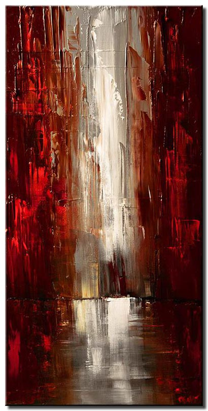 canvas print of abstract cityscape of red skyscrapers