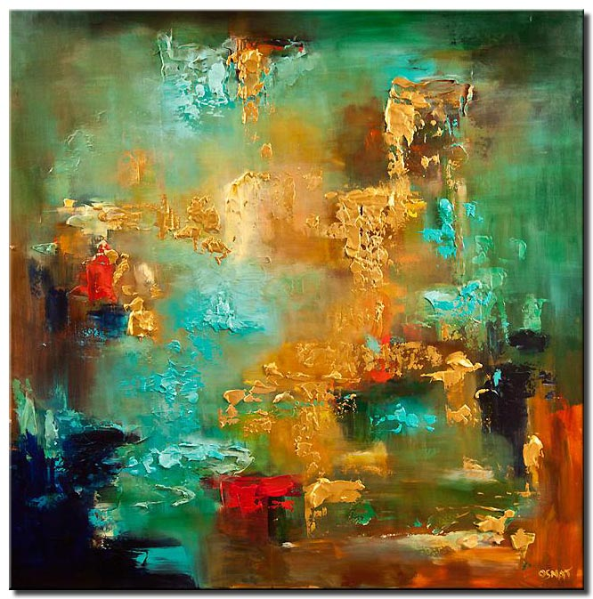 large turquoise gold abstract painting heavy texture modern palette knife
