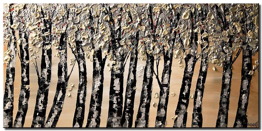 black silver blooming tree abstract painting