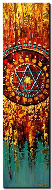canvas print of colorful magen david vertical painting