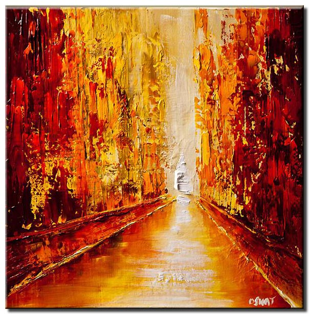 canvas print of red cityscape view of street