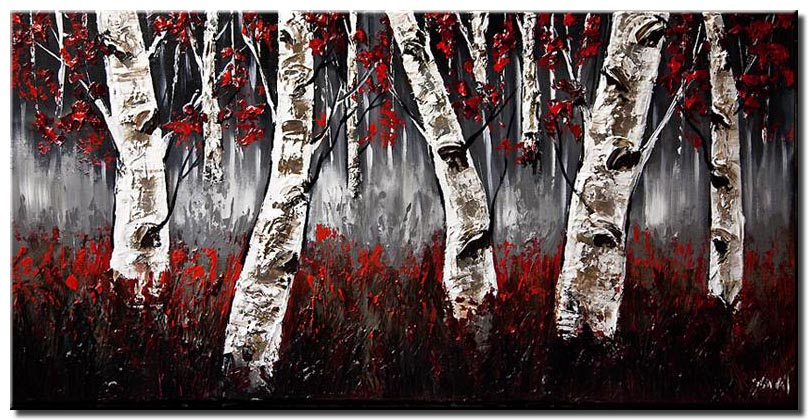canvas print of birch trees with red leaves