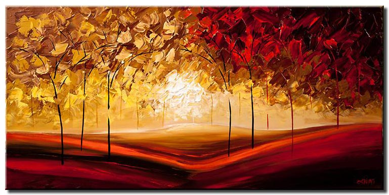canvas print of red and yellow blooming trees painting