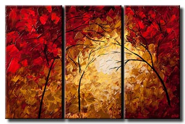 canvas print of triptych of red blooming trees