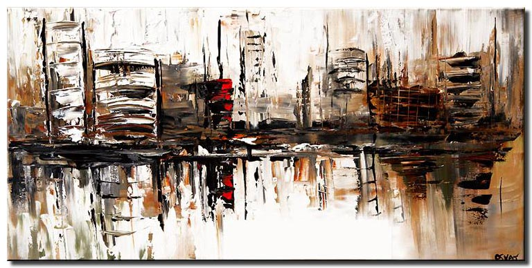 canvas print of abstract cityscape in white