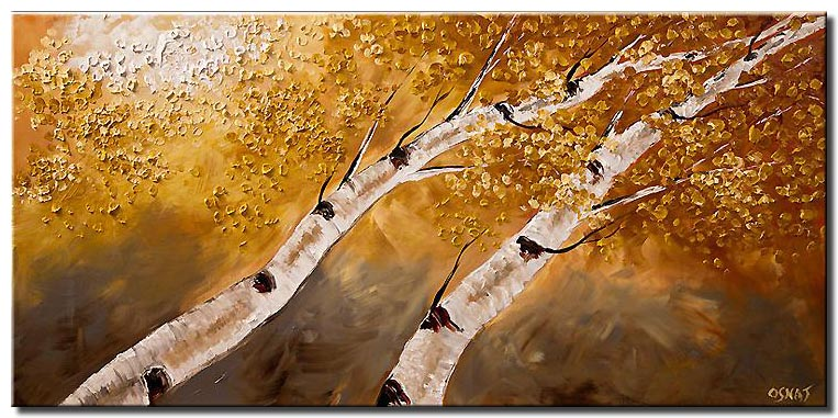 canvas print of two birch trees reaching each other