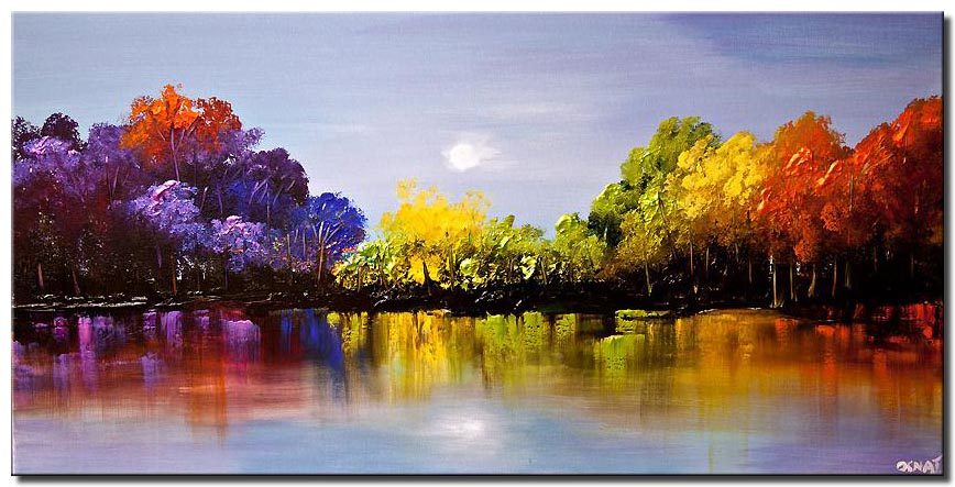 modern colorful blooming trees textured painting
