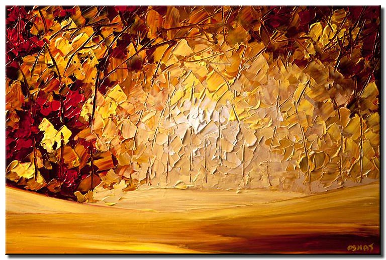 canvas print of palette knife blooming forest