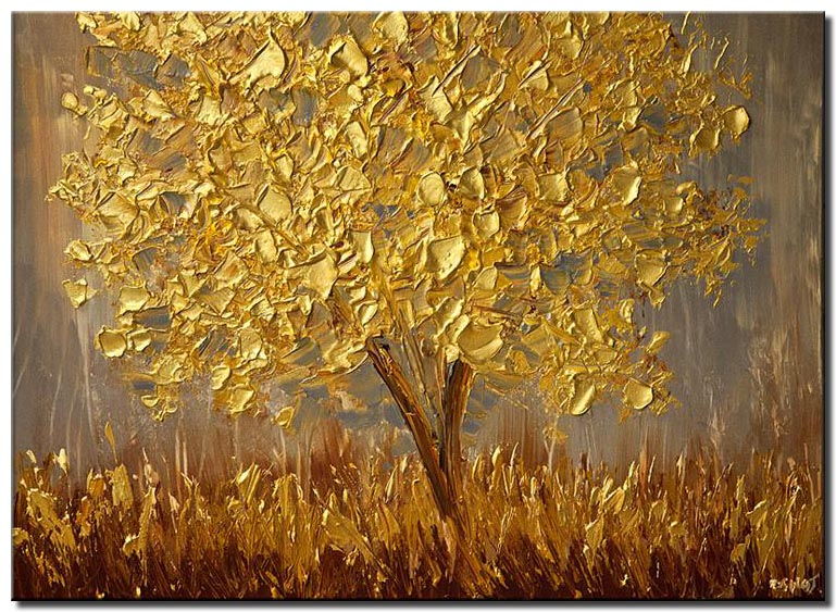 canvas print of golden tree
