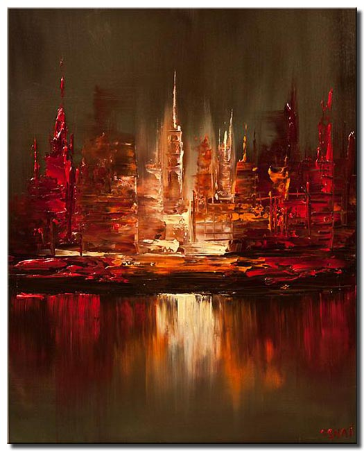 canvas print of cityscape reflected in water
