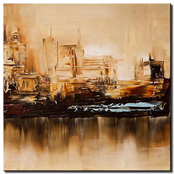 canvas print of beige cityscape reflected in water