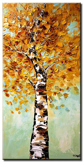 canvas print of vertical birch tree blooming