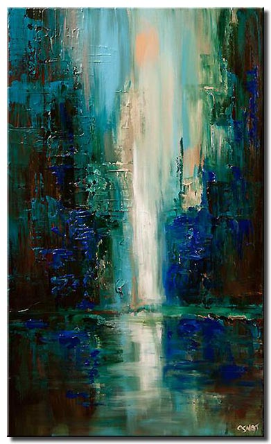 canvas print of vertical painting of cityscape at dawn