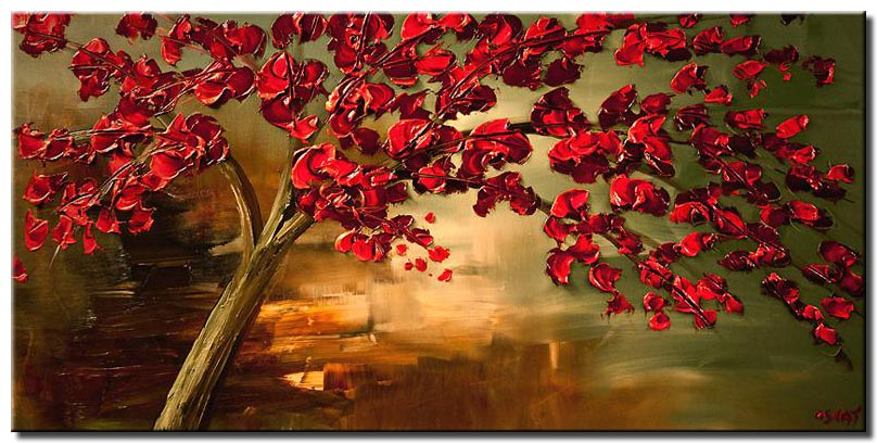 canvas print of red flowering tree