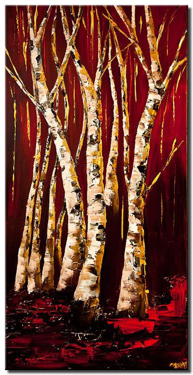 gold birch trees landscape painting red abstract painting