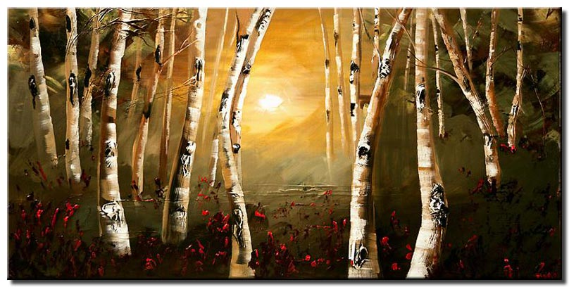 canvas print of birch trees painting