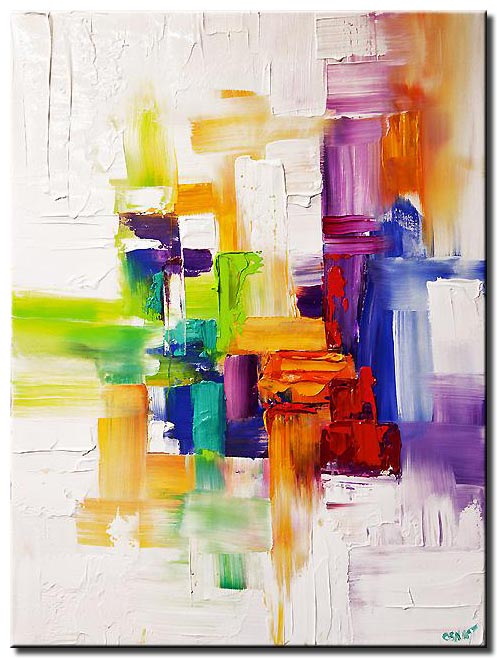 canvas print of  Colorful abstract modern palette knife