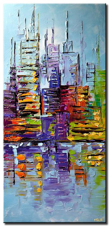 canvas print of  New York City Painting Palette Knife