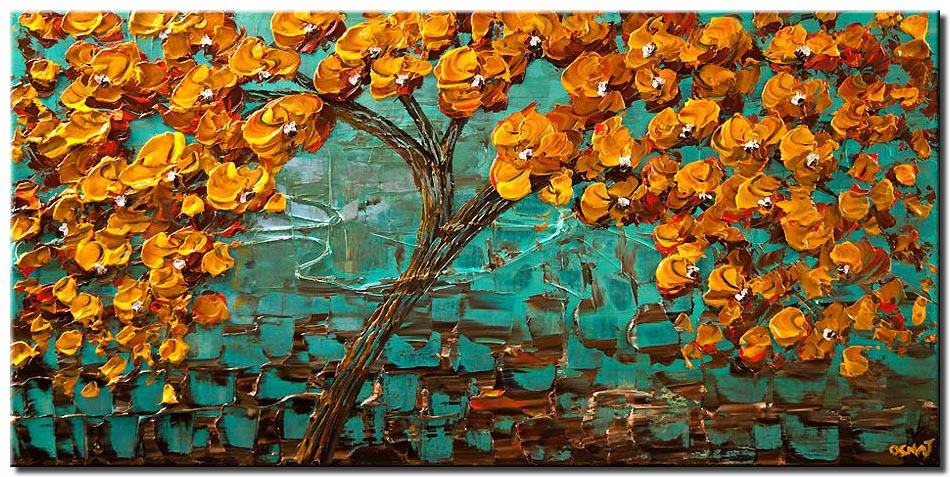 canvas print of orange blooming tree on turquoise background
