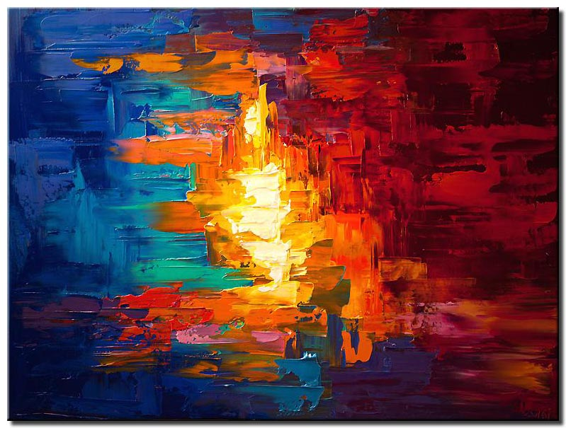 canvas print of original colorful abstract modern palette knife