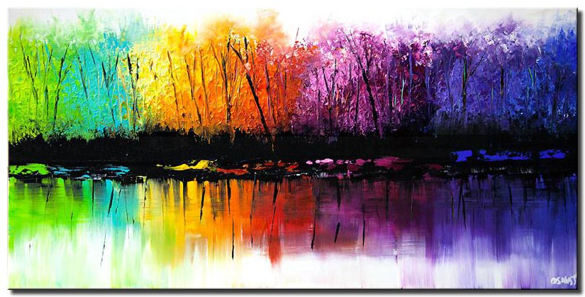 canvas print of colorful reflection seasons abstract  blooming trees