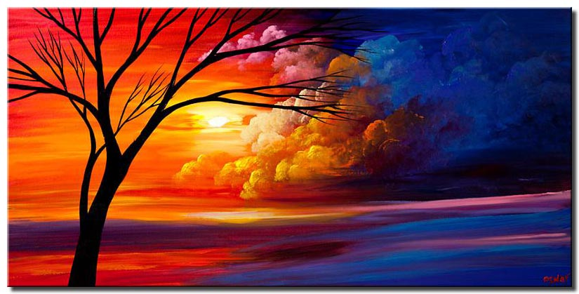 canvas print of colorful heaven tree landscape painting