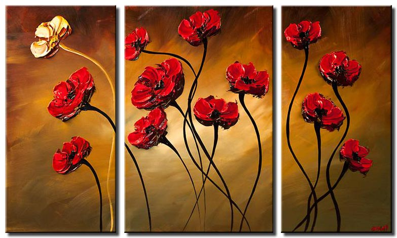 canvas print of red poppies modern palette knife
