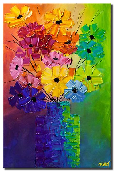 canvas print of colorful abstract flowers in a vase modern palette knife