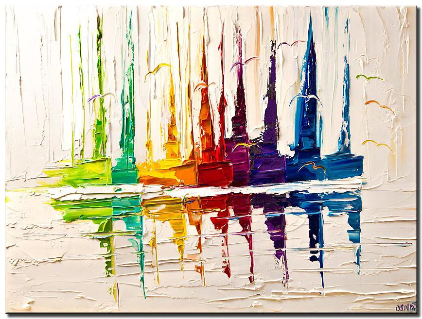 canvas print of colorful boats on white palette knife