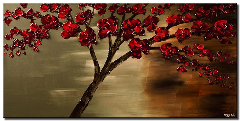 canvas print of abstract contemporary red blooming tree