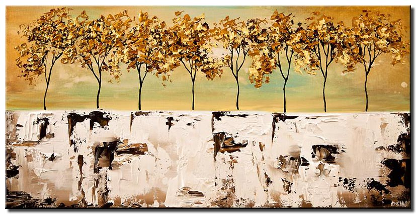 canvas print of abstract landscape blooming trees palette knife