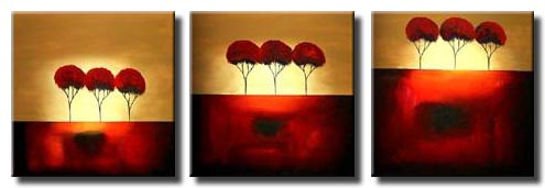 multi panel canvas red trees painting