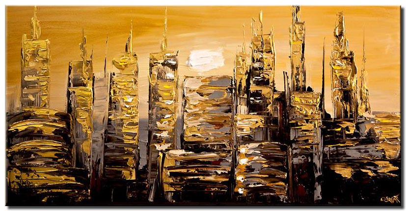 canvas print of gold abstract city painting modern palette knife