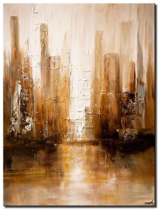 canvas print of white brown abstract modern city painting palette knife