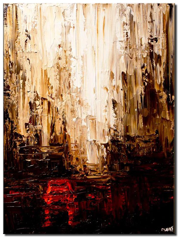 canvas print of red cab original city painting palette knife