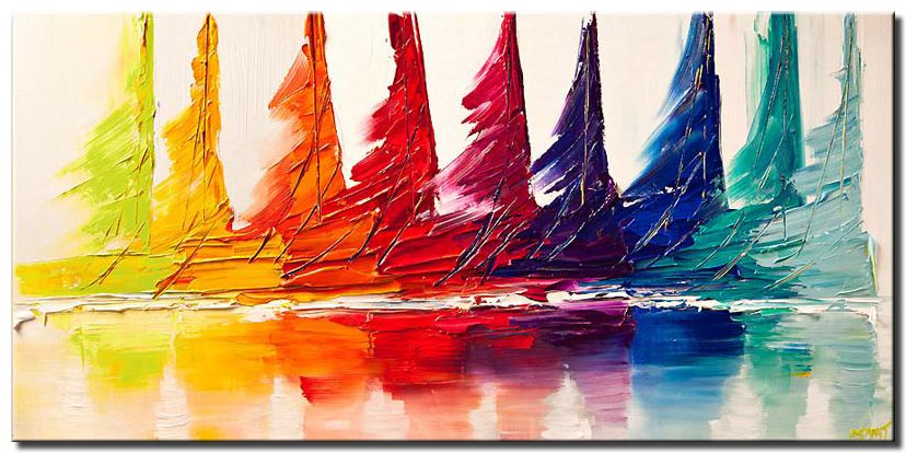canvas print of colorful sail boats seascape abstract painting
