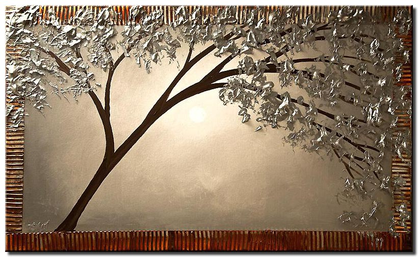 canvas print of blooming silver tree painting textured painting
