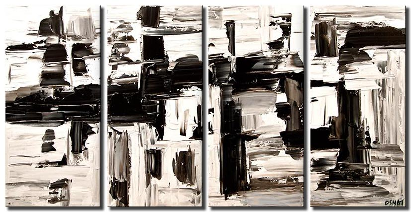 black white contemporary abstract painting textured modern palette knife