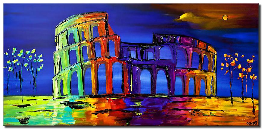 canvas print of colosseum abstract painting