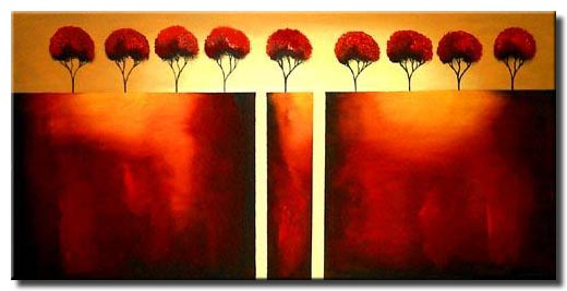 trees on cliffs painting