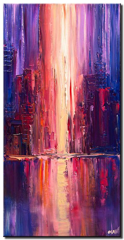 canvas print of purple abstract city painting palette knife