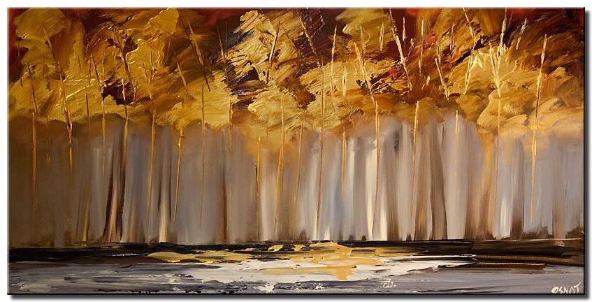 canvas print of golden trees painting abstract landscape modern texture