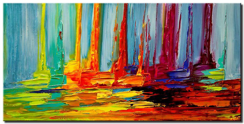 canvas print of colorful abstract sail boats in sea modern palette knife painting