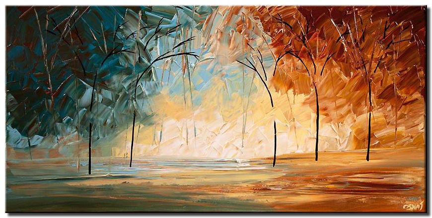canvas print of Landscape painting modern palette knife