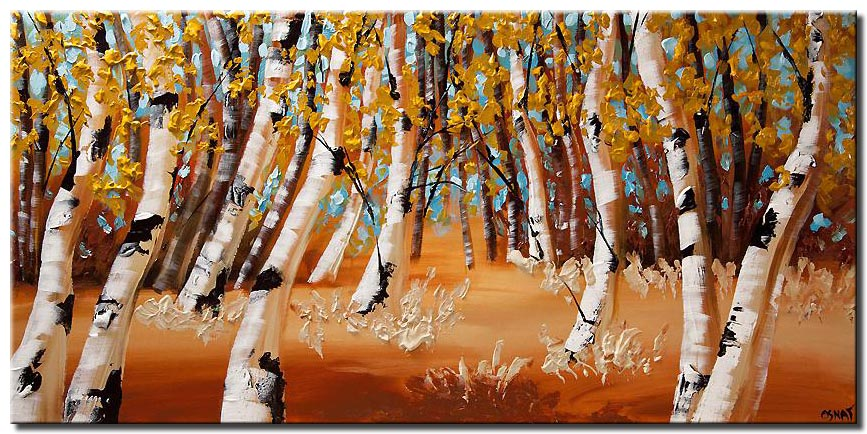 canvas print of birch trees blooming trees landscape painting heavy impasto