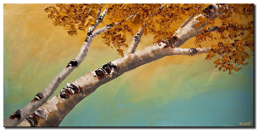 canvas print of silver birch trees blooming abstract landscape textured