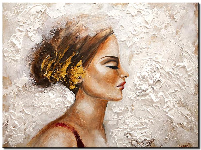 canvas print of women portrait textured painting